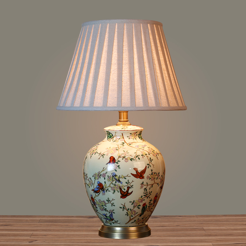 European pastoral ceramic table lamp bedroom bedside lamp creative fashion living room lamp bedside lamp table lamp table lamp copper lamp