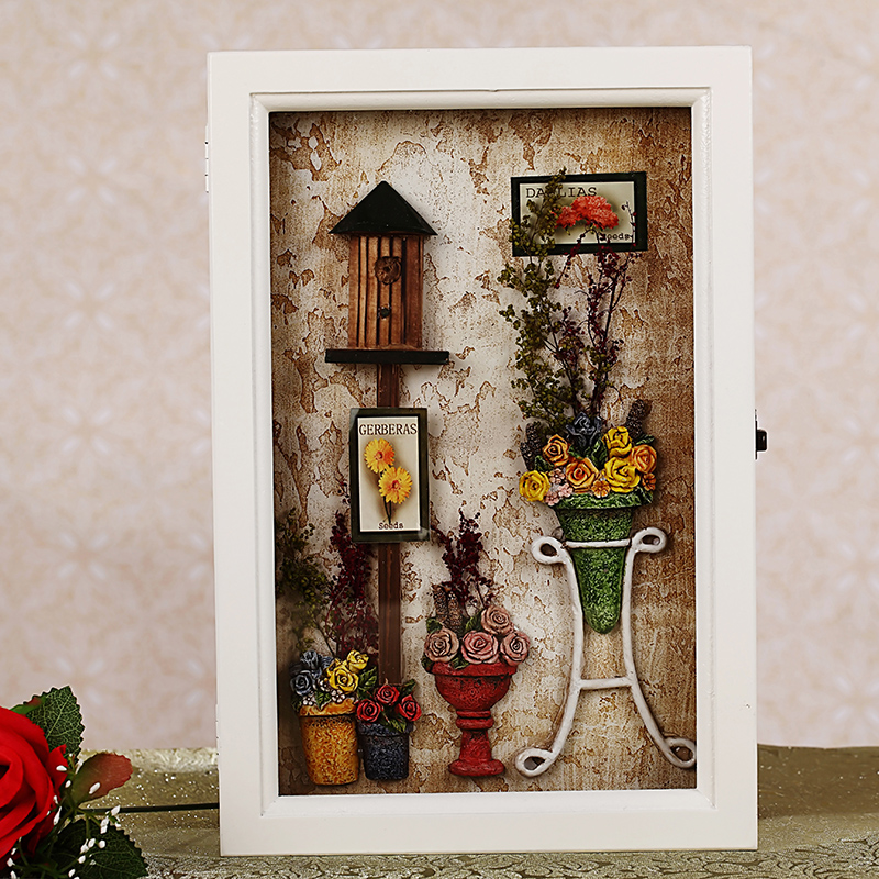 European pastoral creative home accessories wall mural wall hangings decorative wall shelf coat hanger hook key box