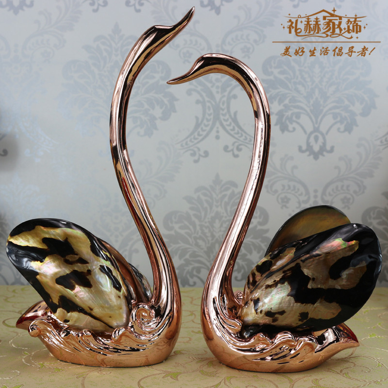 European resin home decor furnishings ornaments crafts ornaments swan shell patch