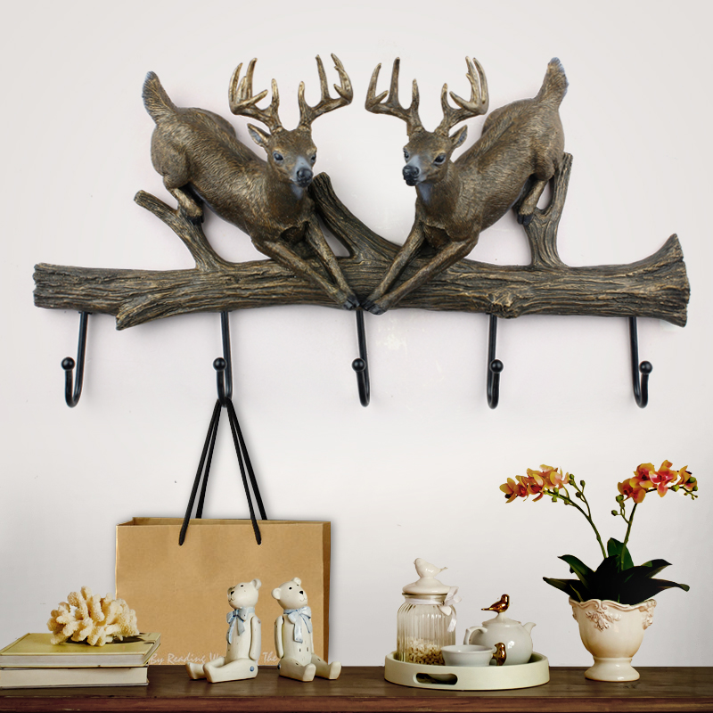 European retro antlers practical ornaments hanging wall mural creative home accessories living room decorative wall hooks