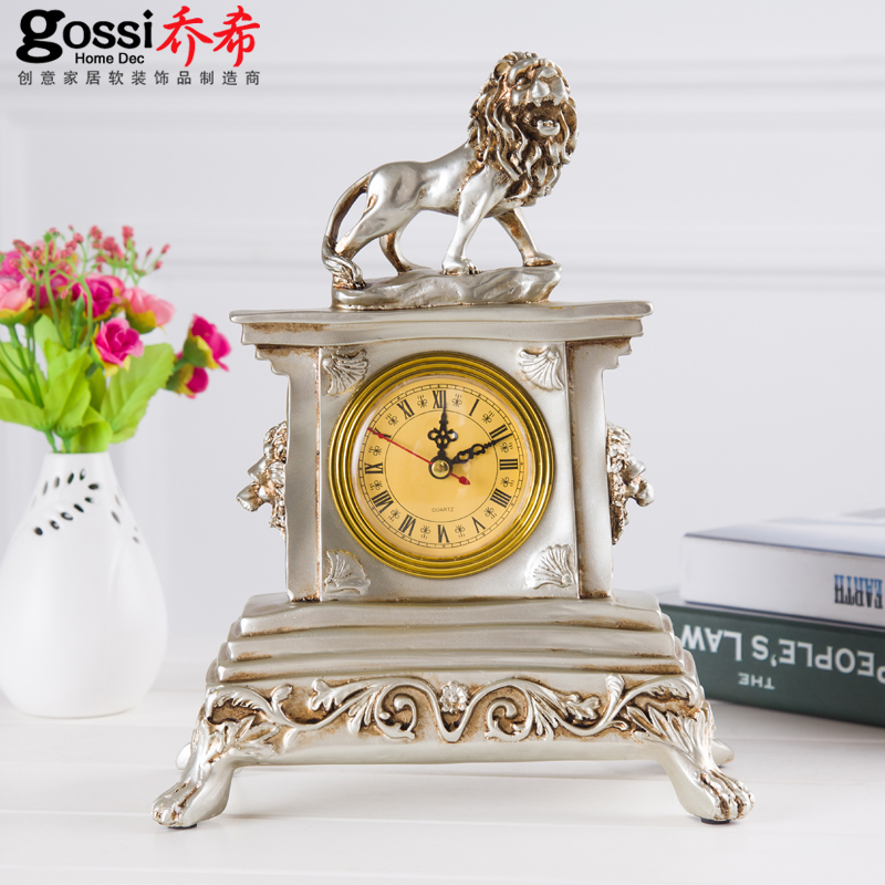 European Retro Living Room Clock Watch Tyrangiel Lion Desk Clock Table  Clock Desk Clock Creative Decorative