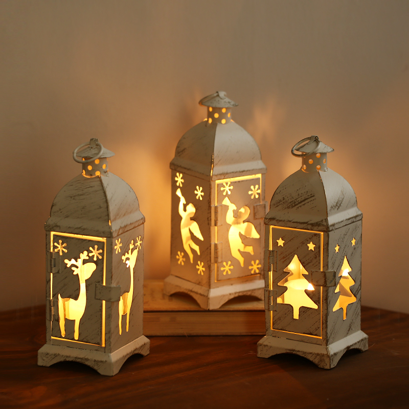 European romantic lantern decorative wrought iron christmas tree ornaments angel lover gift ideas for christmas elk candlestick