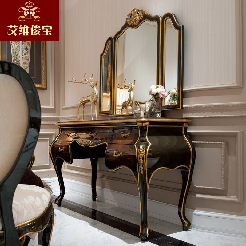 European solid wood dresser dresser bedroom dresser dressing table mirror combination of neoclassical villa furniture custom