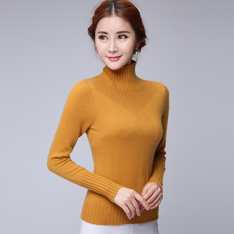 European stations dongkuan england slim solid color cashmere sweater with high collar and a half twist hedging sweater sweater bottoming