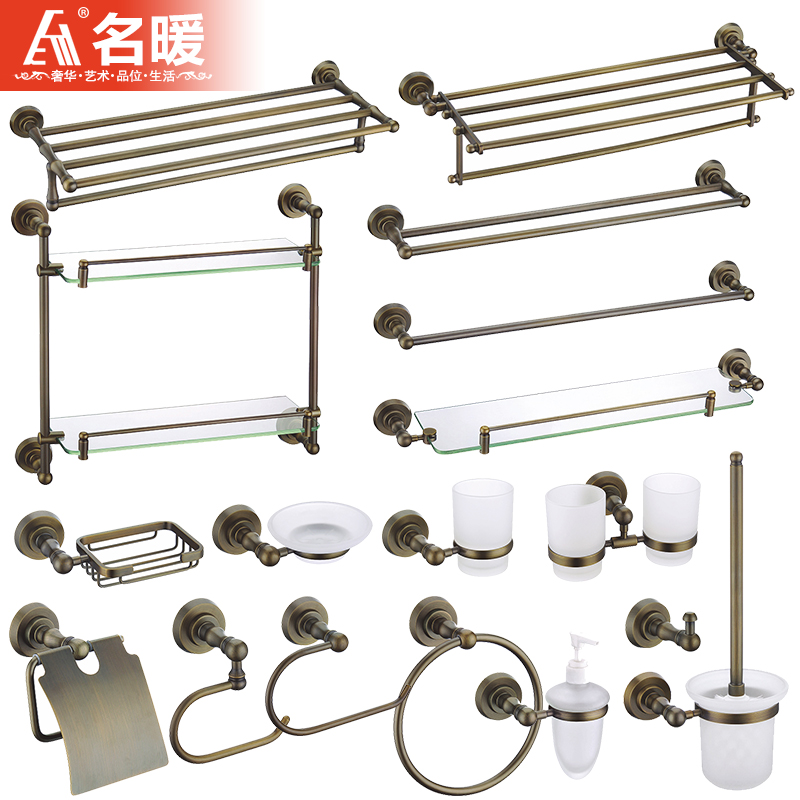 European towel rack towel rack toilet paper holder bathroom shelf antique brushed copper bathroom accessories combination package