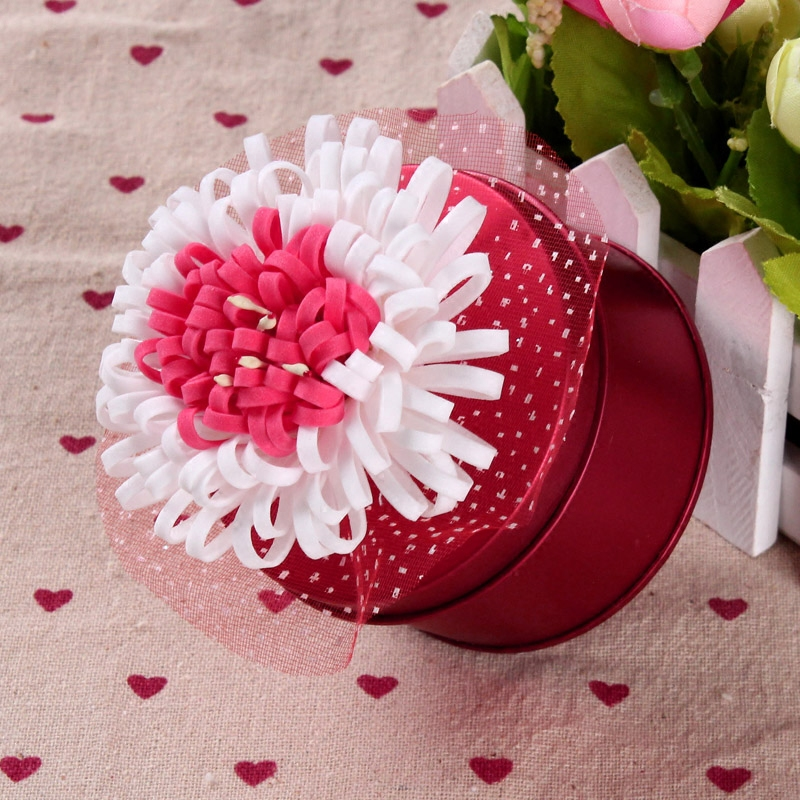 European wedding red wedding wholesale wedding supplies wedding candy tin box round tin box wholesale