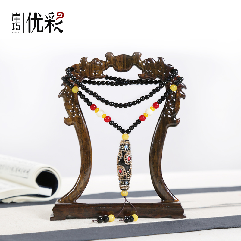 Excellent color quality wood ornaments hanging jade jewelry display props jade necklace hanging jewelry holder jewelry display stand