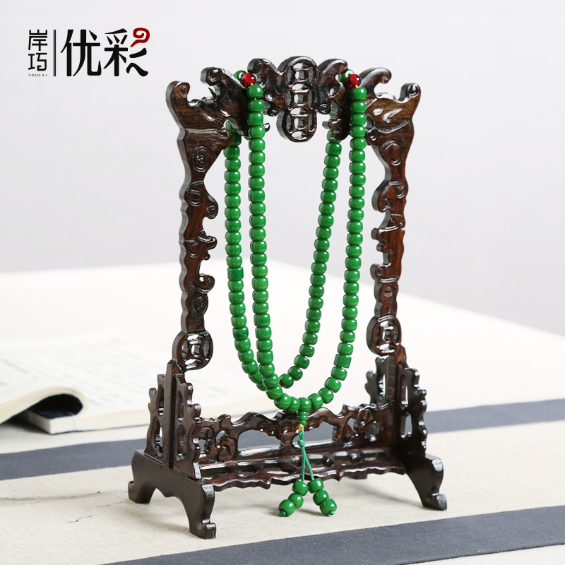 Excellent color quality wooden jewelry jade hanging rack hanging jade jewelry display rack props jewelry beads bracelets ornaments
