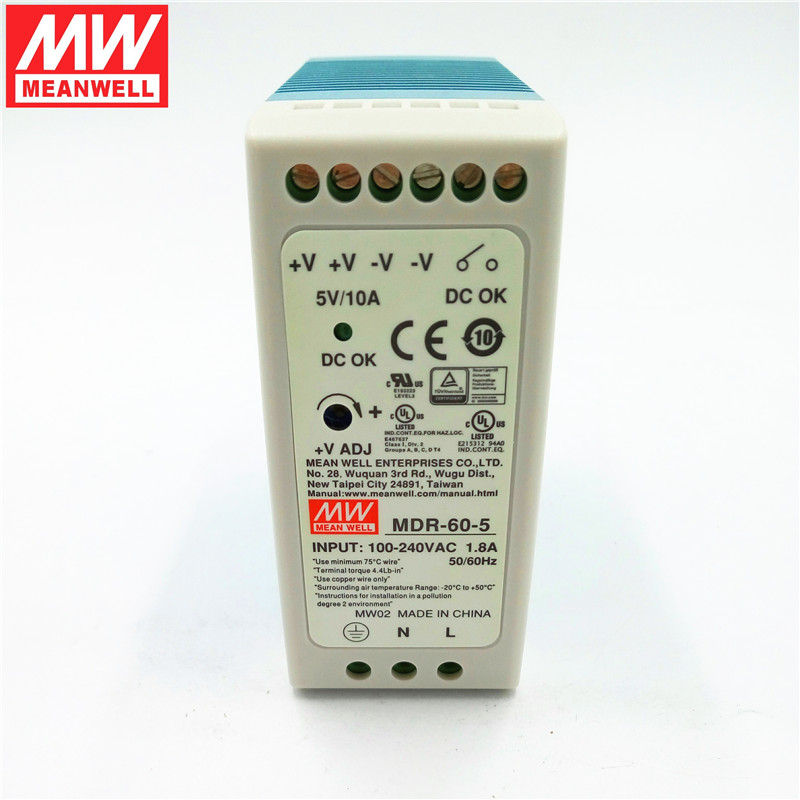 [Factory authorized] taiwan meanwell rail switching power supply 60 w MDR-60-5 5V10. 5a power supply rail
