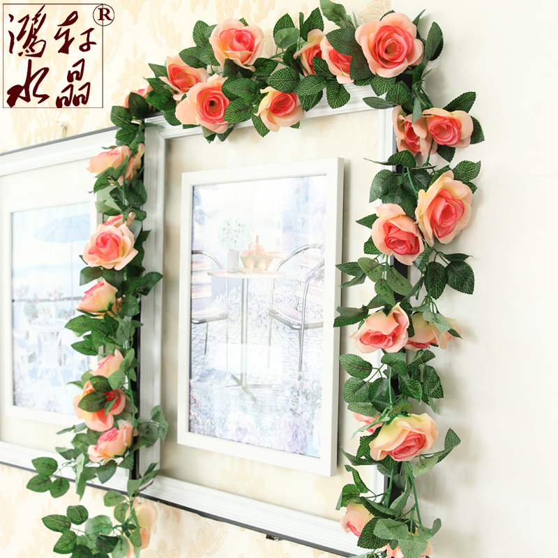 Fake flower vine artificial flowers artificial flowers decorate the living room air conditioning ducts decorative plastic flower vine simulation roses