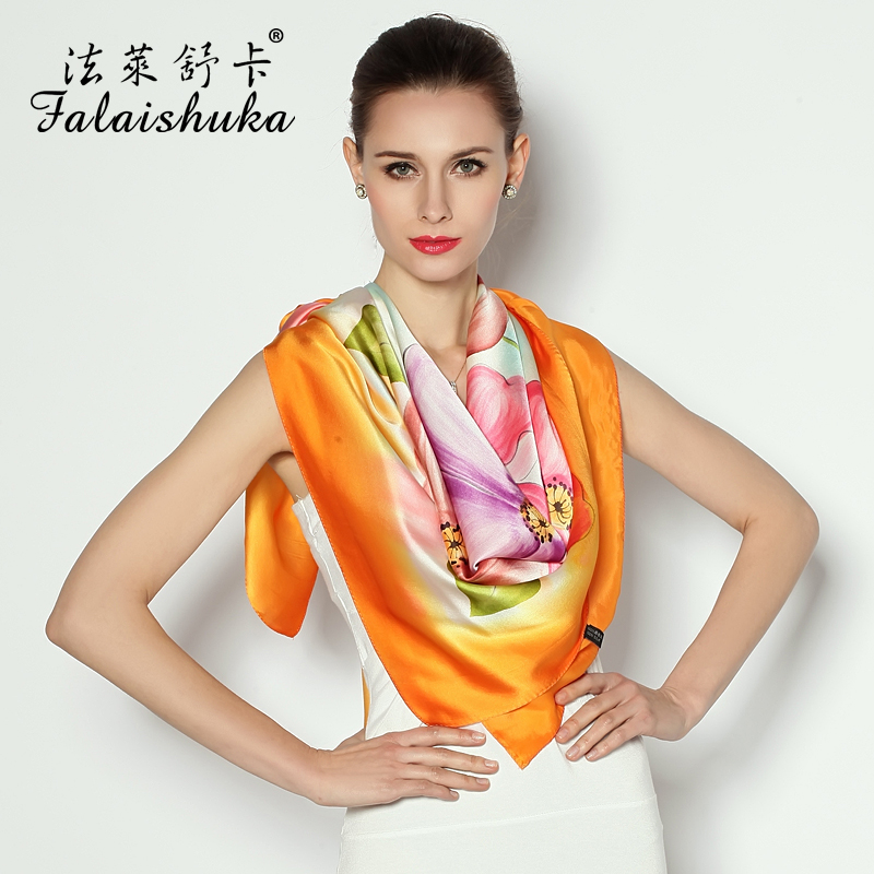Falaishuka silk large square silk scarves fashion hand painted silk scarves ladies silk scarf silk shawl scarf spring and autumn gifts
