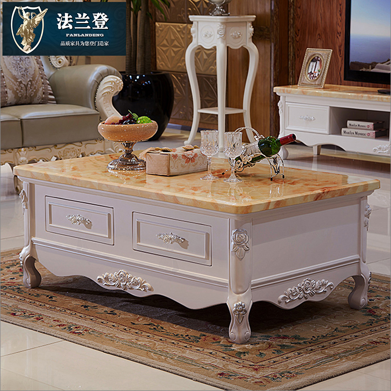 Falan deng marble coffee table carved wood living room tv cabinet european minimalist white paint combination package