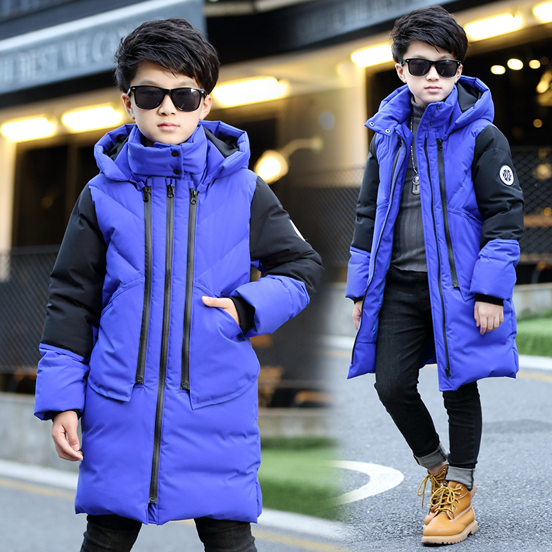 Fall and winter children's clothing boy big virgin child down 2016 new long section cotton cherishable thick coat 13 years old