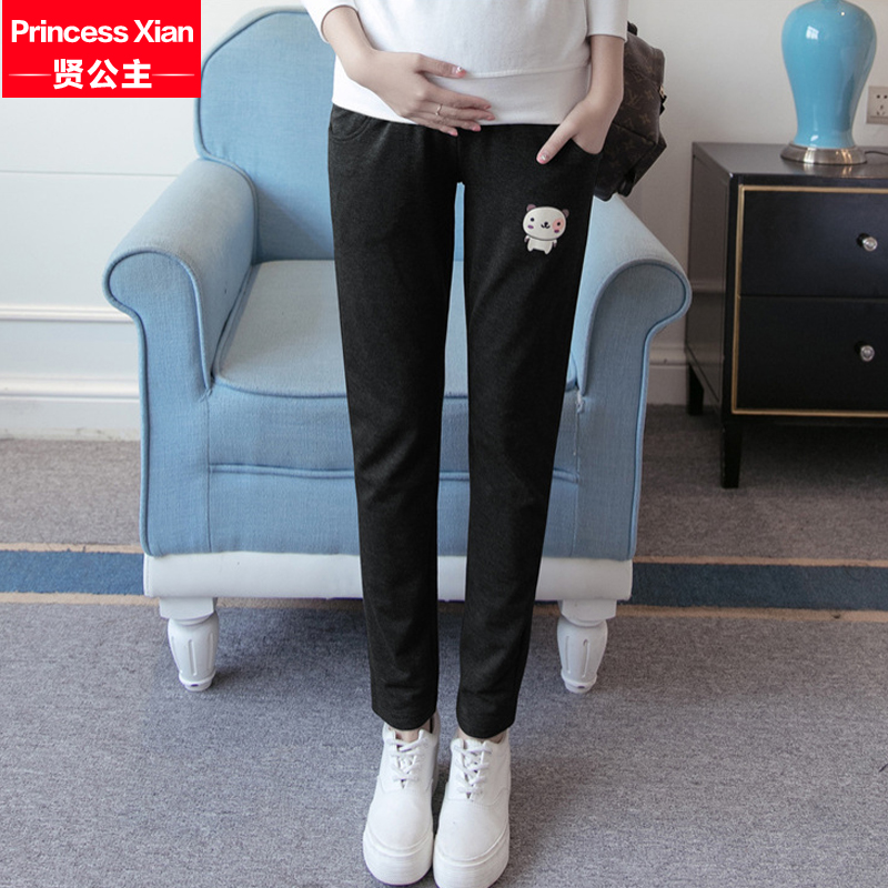 Fall and winter clothes for pregnant women plus thick velvet leisure sports adjustable prop belly pants trousers straight wei pants 2016 new yfz