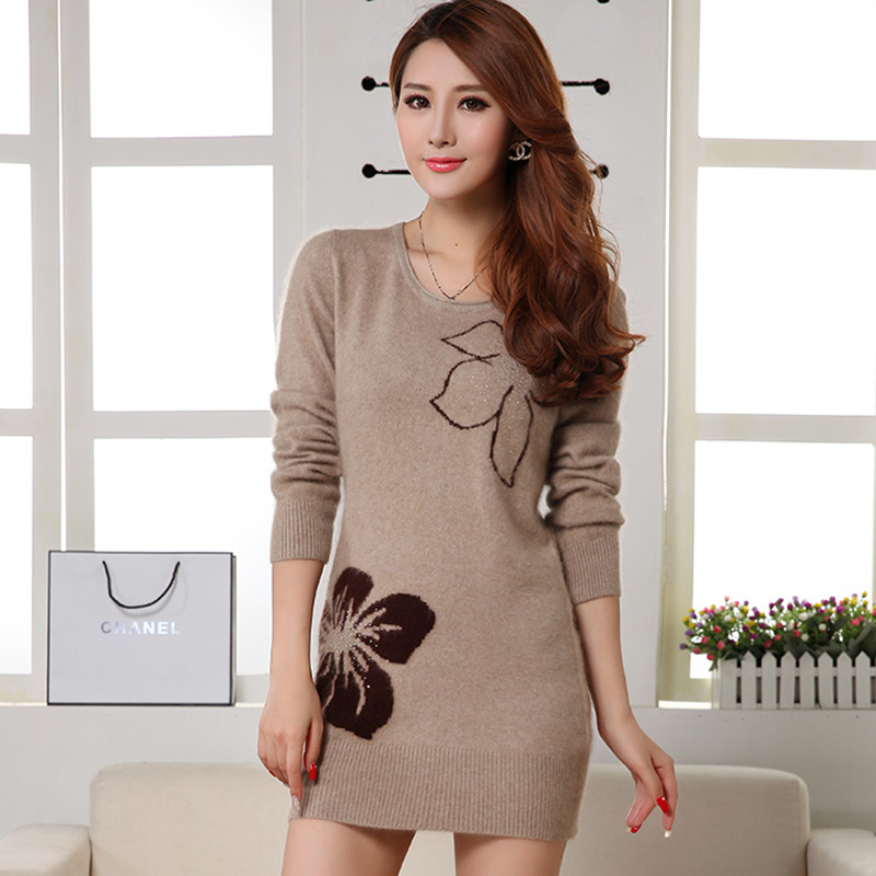 Fall and winter clothes new cashmere sweater cashmere sweater women sweater hedging slim and long sections sweater dress hit the bottom shirt printing