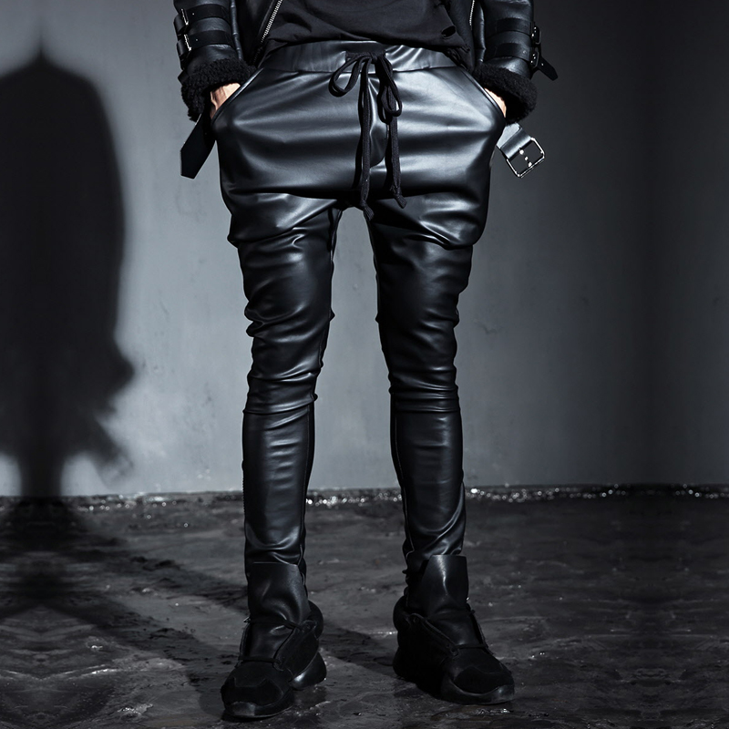 f108bfd0c9f8 Buy Fall mens slim leather pants tapered pants fashion trend of british  punk black jane about carnitas leather pants tapered pants in Cheap Price  on ...