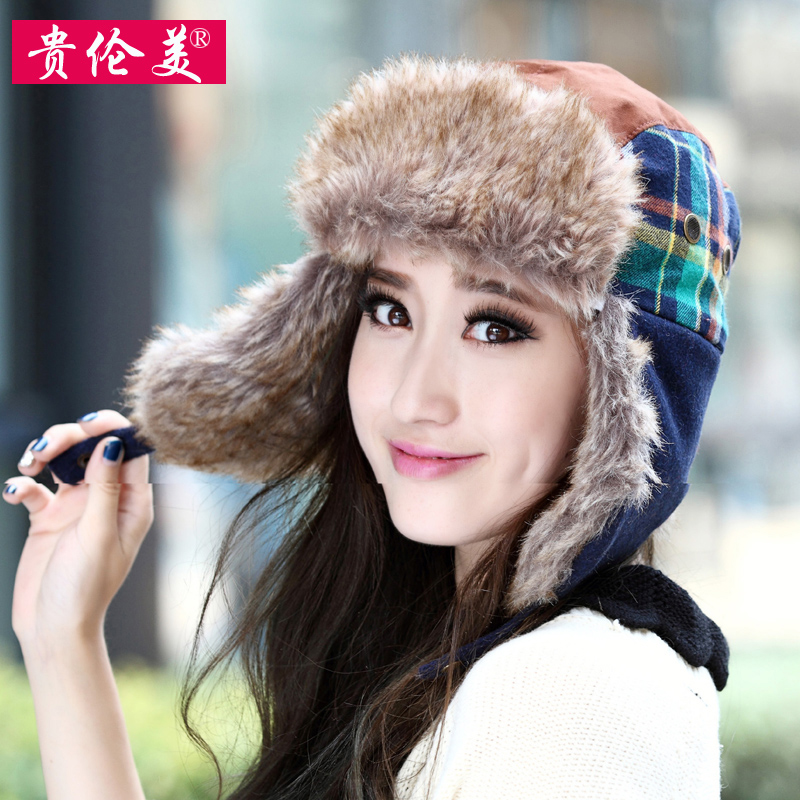 Fallon expensive rok tide winter plaid cap lei feng male ms. autumn and winter days warm fur hat fashion lovers