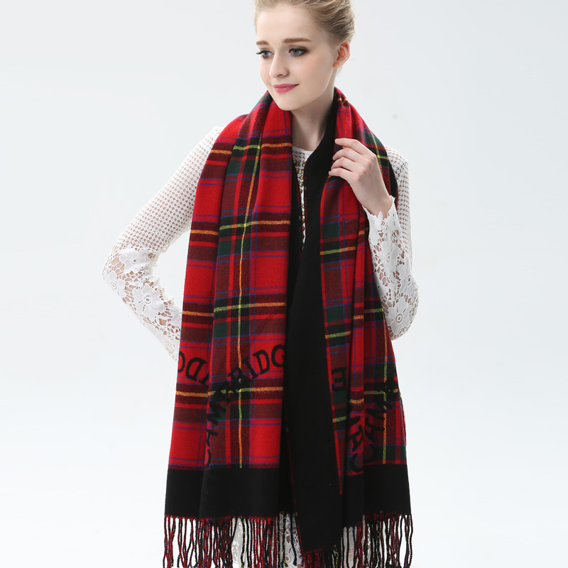 Fallon rok expensive version tassels ms. plaid scarf female autumn and winter days warm wool scarf knitted scarf