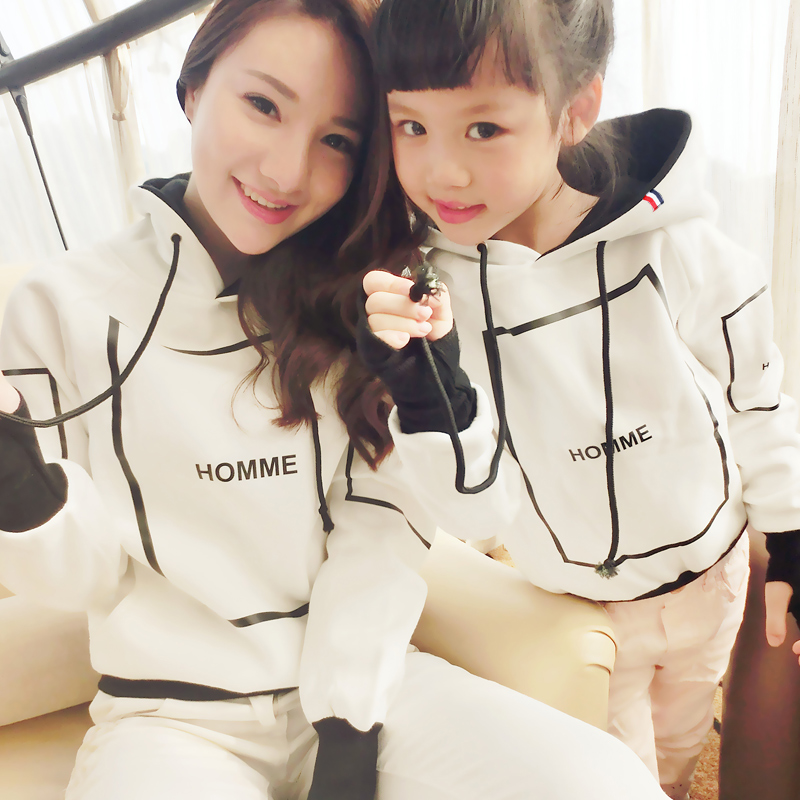 Family fitted autumn 2016 new wave of a three family fitted mother of women mother dress girls and boys long sleeve sweater
