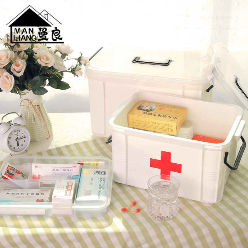 Family medicine chest with a king medicine cabinet multilayer storage of medical medicine box first aid kit storage box household plastic trumpet