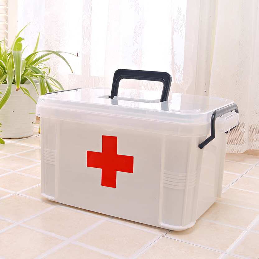 Family medicine chest with a large family home medicine cabinet multilayer plastic medicine storage box kits small first aid kit for children