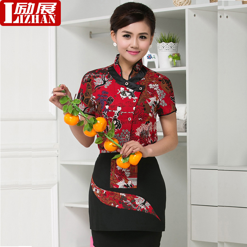 Farmhouse waiter sleeved uniforms hotel uniforms summer female pot shops catering hotel restaurant chinese restaurant