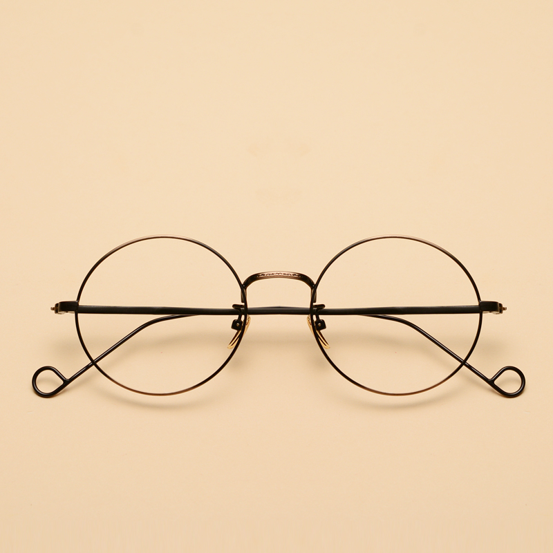 86782831bac Get Quotations · Fashion art retro eyeglass frames for men and thin edge  gold frame glasses round little face