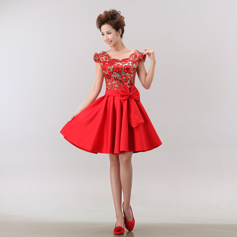 Fashion improved cheongsam dress the bride toast red cheongsam dress short paragraph sequined cheongsam dress cheongsam show sweet