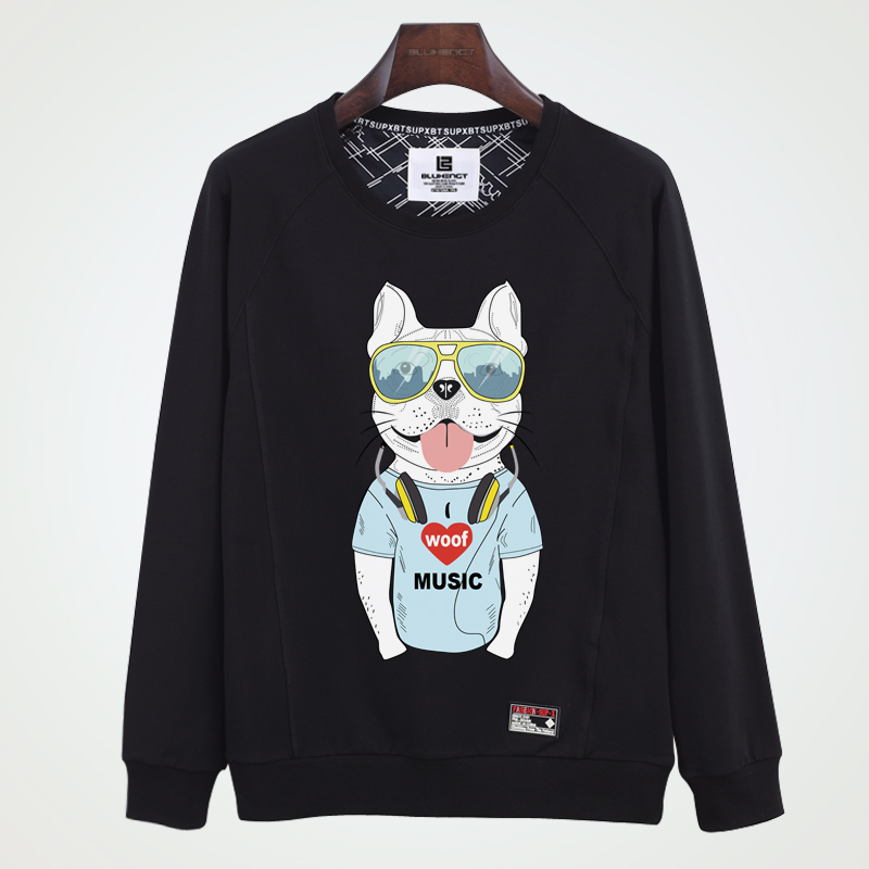 Fashion personality music puppy hedging round neck sweater adolescent students in autumn long sleeve plus fertilizer to increase thin coat