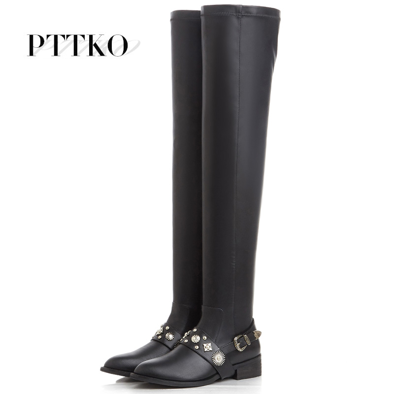 Fashion pointed leather knee boots stretch boots flat boots stovepipe boots tide pointed flat boots