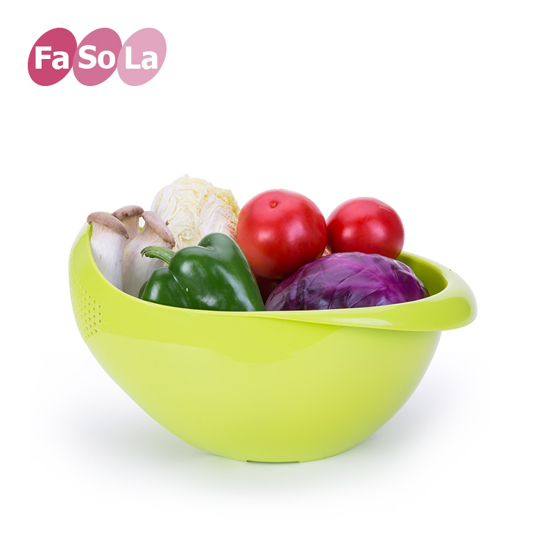 Fasola double bottom thick wash rice sieve drain basket fruit basket fruit plate fruit basket kitchen drain vegetables basket basket wash rice basket