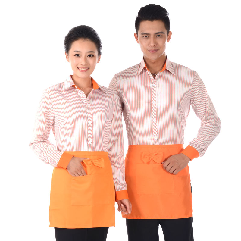 Fast food restaurant waiter sleeved shirt fall and winter clothes for men and women fast food restaurant waiter clothing hotel restaurant hotel uniforms