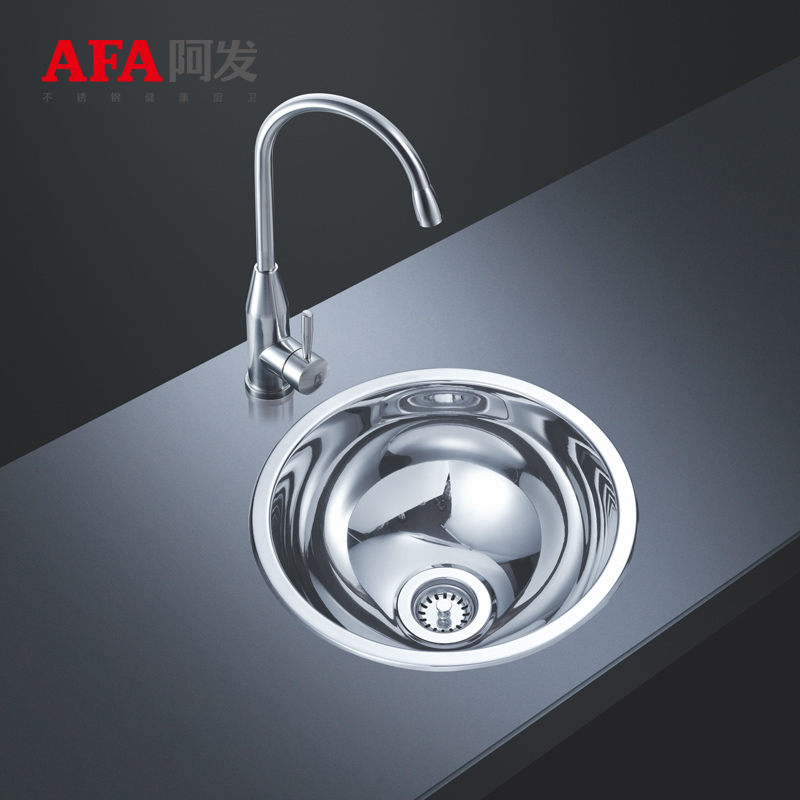 Fat 304 stainless steel round round round groove groove kitchen wash basin sink single product single small round bar HC336