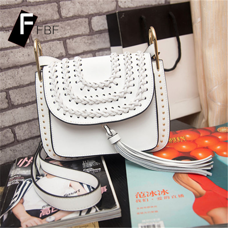 Fbf 2016 new ms. bohemian style single solid color leather shoulder messenger bag tassel bag 2456