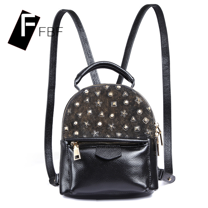 Fbf genuine ladies bags simple college rivets korean version of the new mini bag small carry bag shoulder bag 7224