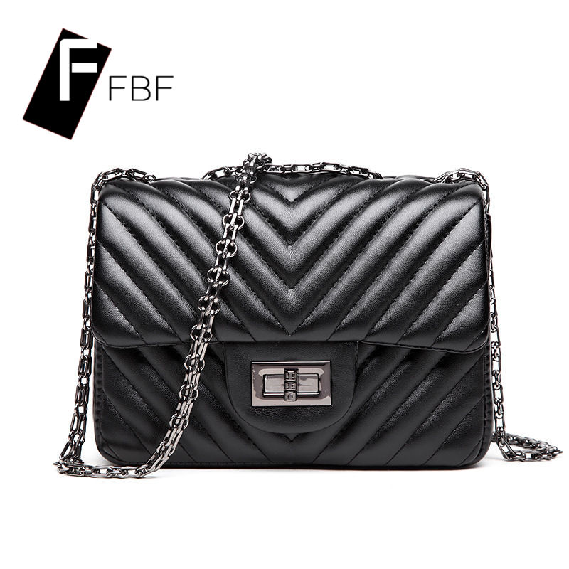 Fbf solid european and american chain single chain cross section of small fresh single small square bag ladies leather shoulder messenger bag 7781