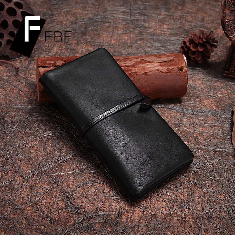 FBF2016 solid ms. korean oil wax leather wallet retro fashion personality simple long section of the card package 6653