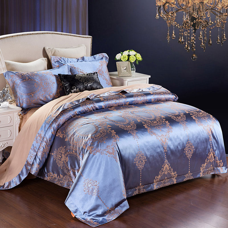 Feather light wedding textile cotton jacquard embroidered denim wedding wedding bedding four suites