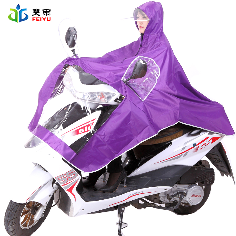 Fei rain motorcycle electric vehicles poncho poncho raincoat single transparent fashion brim oxford bucharest thick raincoat adult men and women