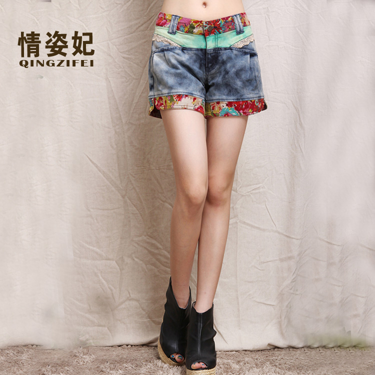 Fei tzu love 2016 new shorts shorts female denim shorts female summer national wind big yards fat mm waist denim shorts