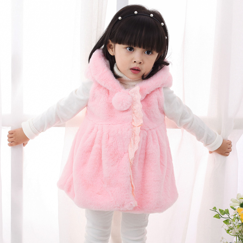 Female baby fall and winter vest baby clothes children's clothing korean girls plus velvet thick wool fur vest leather vest grass
