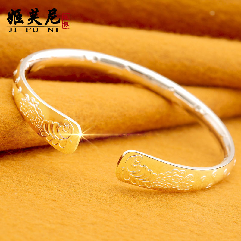 Female bracelet 999 sterling silver bracelet sterling silver bracelet national wind silver bracelet sterling silver bracelet bracelet to send love to open mouth