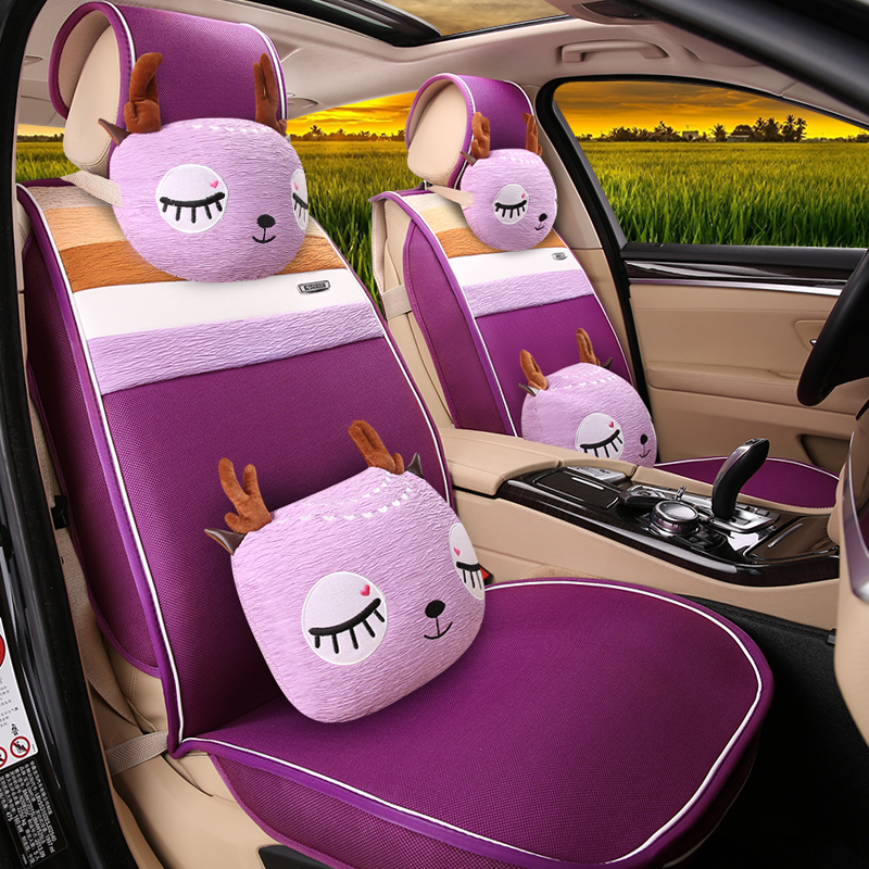 Female cartoon car seat cushion four seasons general cartoon car seat cushion summer summer new cartoon cushion polo