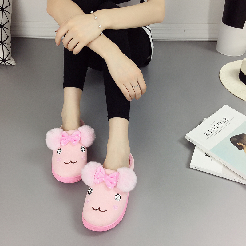 Female cotton slippers winter half a pack with warm cotton slippers thick crust skid slippers cute cartoon plush slippers winter