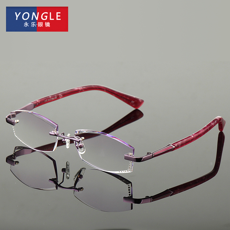 Female diamond trimming rimless reading glasses reading glasses female models customized trimming reading glasses reading glasses progressive multifocal chromotropic
