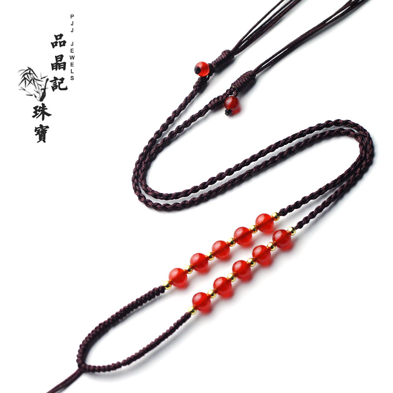 Female models natural red agate handmade fashion simple woven lanyard gold emerald jade pendant necklace pendant rope rope
