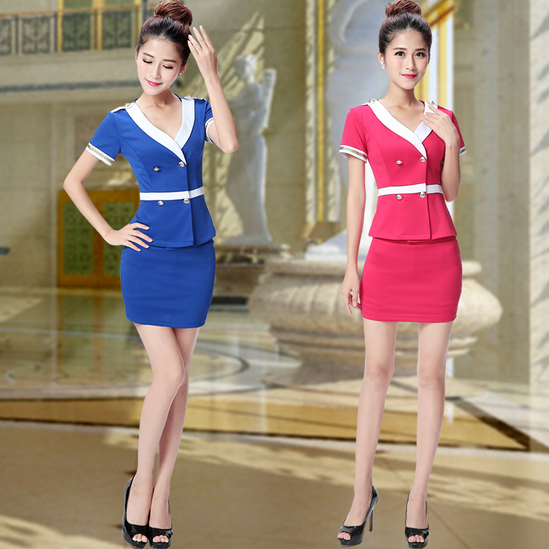 Female stewardess uniforms work clothes foot massage sauna beauty technician foot reflexology technician overalls overalls suit sexy summer