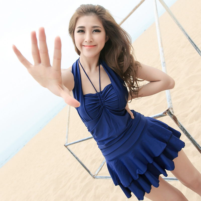 Female swimsuit cover the belly conservative piece skirt was thin boxer swimsuit female steel prop gather small chest korean version of 2016