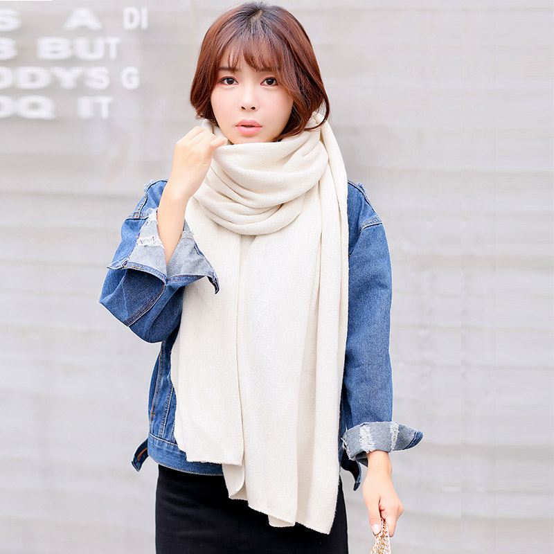 Female winter scarf shawl dual student couple models korean version of a solid color in autumn and winter thick knitted wool scarves