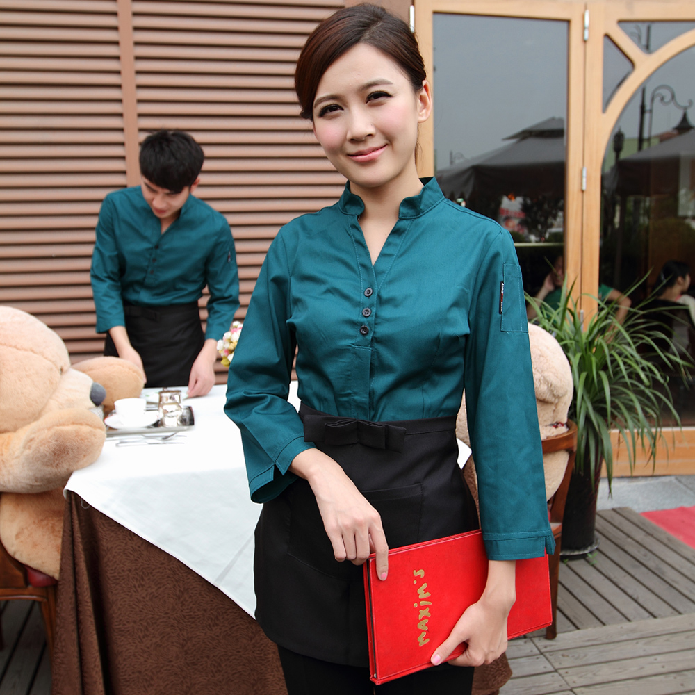 Feng ming hotel uniforms fall and winter clothes cafe restaurant waiter sleeved uniforms female hotel front desk